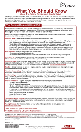 New Mandatory Employment Standards poster